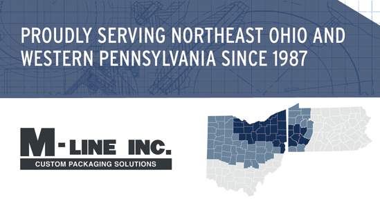 Proudly serving Northeast Ohio and Wester Pennsylvania since 1987 graphic, M-Line logo, counties serving in Ohio and Pennsylvania